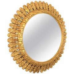 Large French Sunburst Mirror, Carved Giltwood Leafed Frame, 1950s
