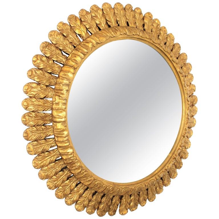 Large French Sunburst Mirror, Carved Giltwood Leafed Frame, 1950s For Sale
