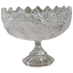 Large French Tazza Etched Cristal Pedestal Fruit Dish