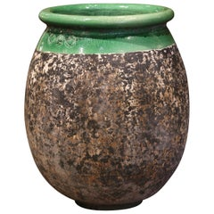 Large French Terracotta Olive Jar with Green Glazed Neck from Provence