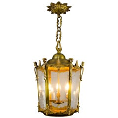 Large French Three-Light Beveled Glass and Bronze Hanging Lantern