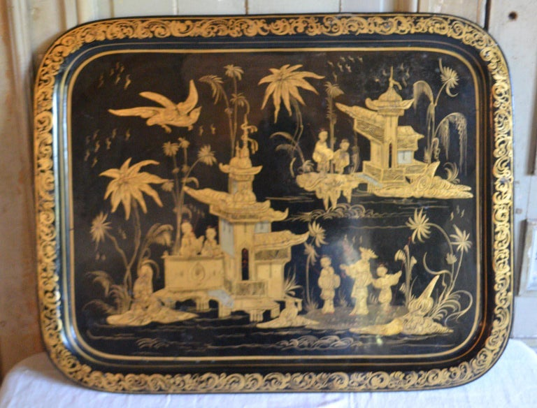 Large chinoiserie tole tray/table top, black with gold. Excellent gold depictions, 19th century. Good condition, France.