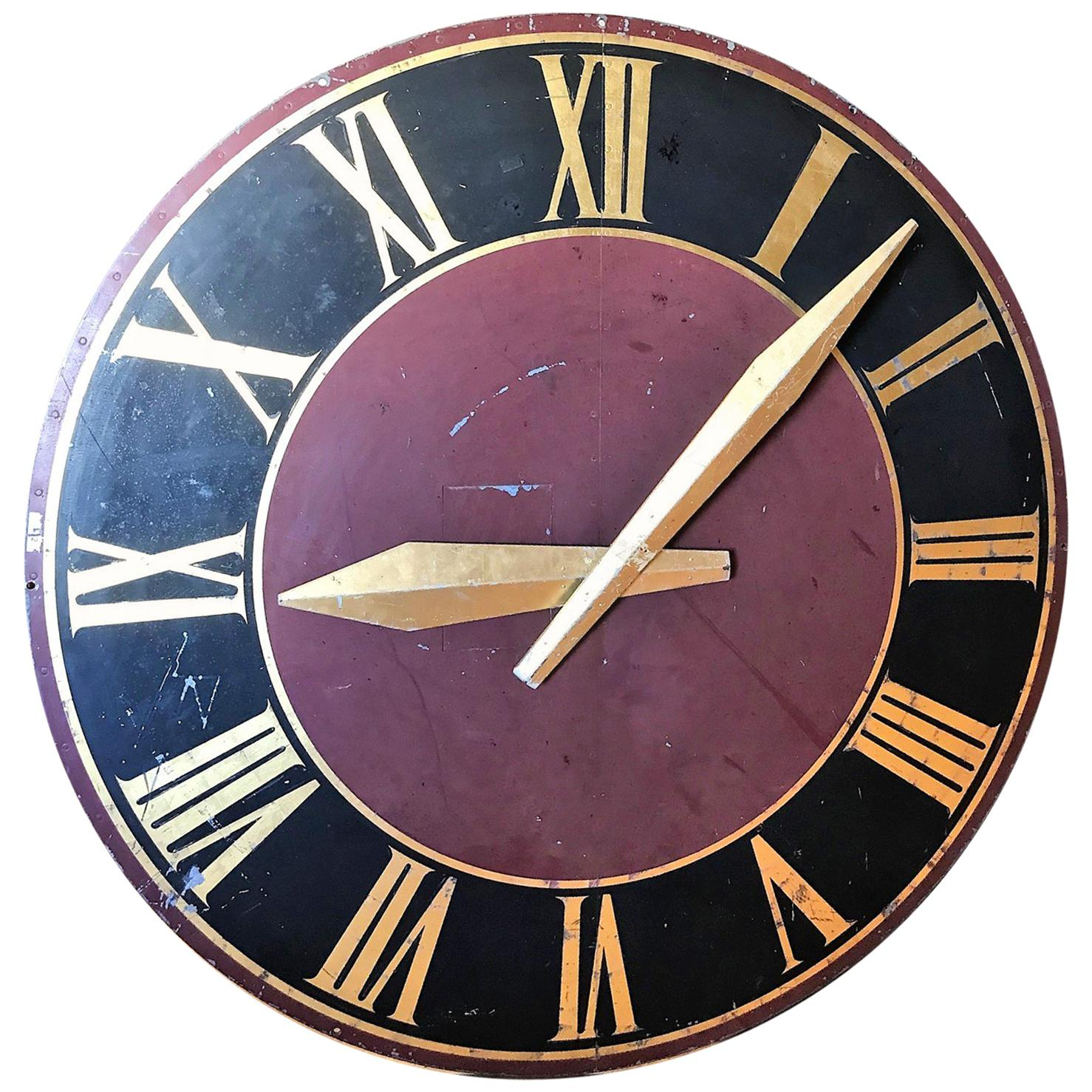 Large French Tower Clock Face, Painted Metal