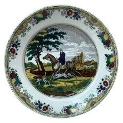 Large French Transferware Horseman Hunter Platter Choisy le Roi, circa 1840