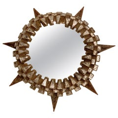Large French Tudor Wall Mirror by Line Vautrin