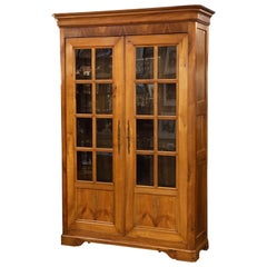 Large French Two-Door Bookcase Cabinet of Cherry
