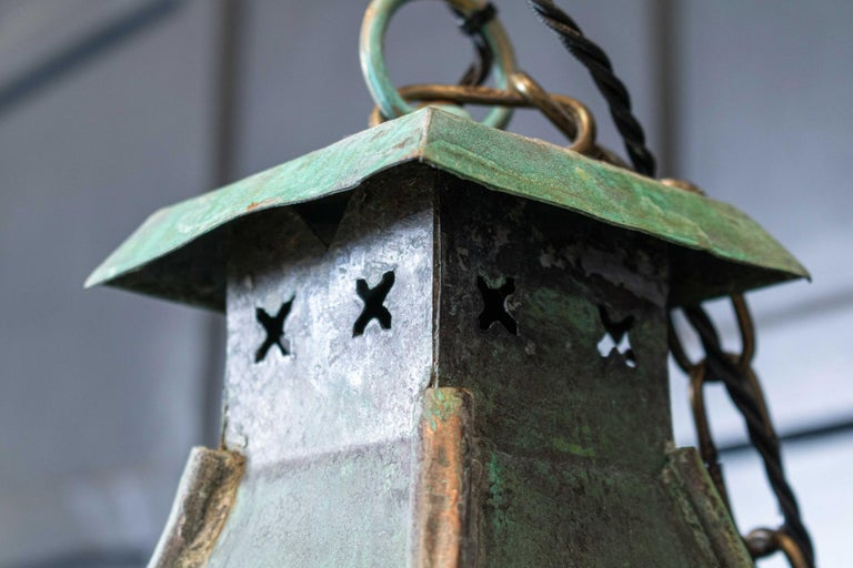 Large French Verdigris Copper Lantern In Good Condition For Sale In Leek, Staffordshire
