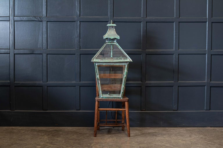 Large French Verdigris Copper Lantern For Sale 2
