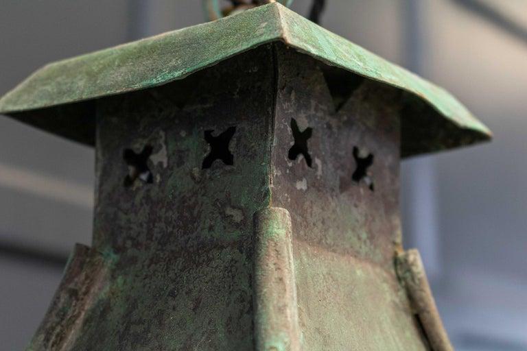 Large French Verdigris Copper Lantern For Sale 4