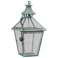 Large French Verdigris Copper Lantern