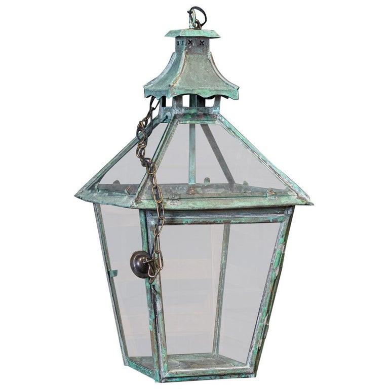 Large French Verdigris Copper Lantern For Sale