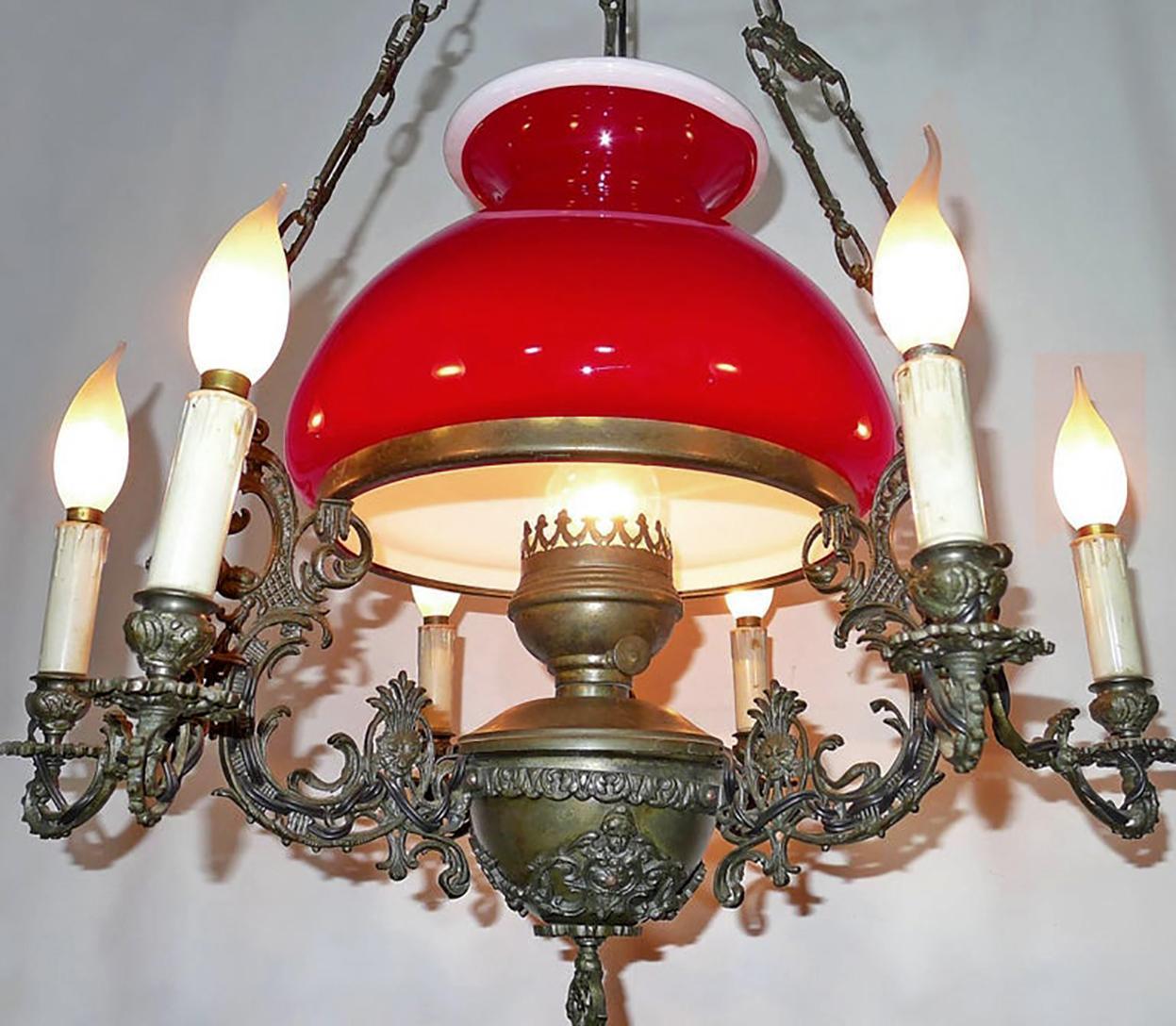 Bohemian Ruby Red Glass Chandelier