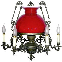 Large French Victorian Library Hanging Oil Lamp Ruby Red Glass Bronze Chandelier