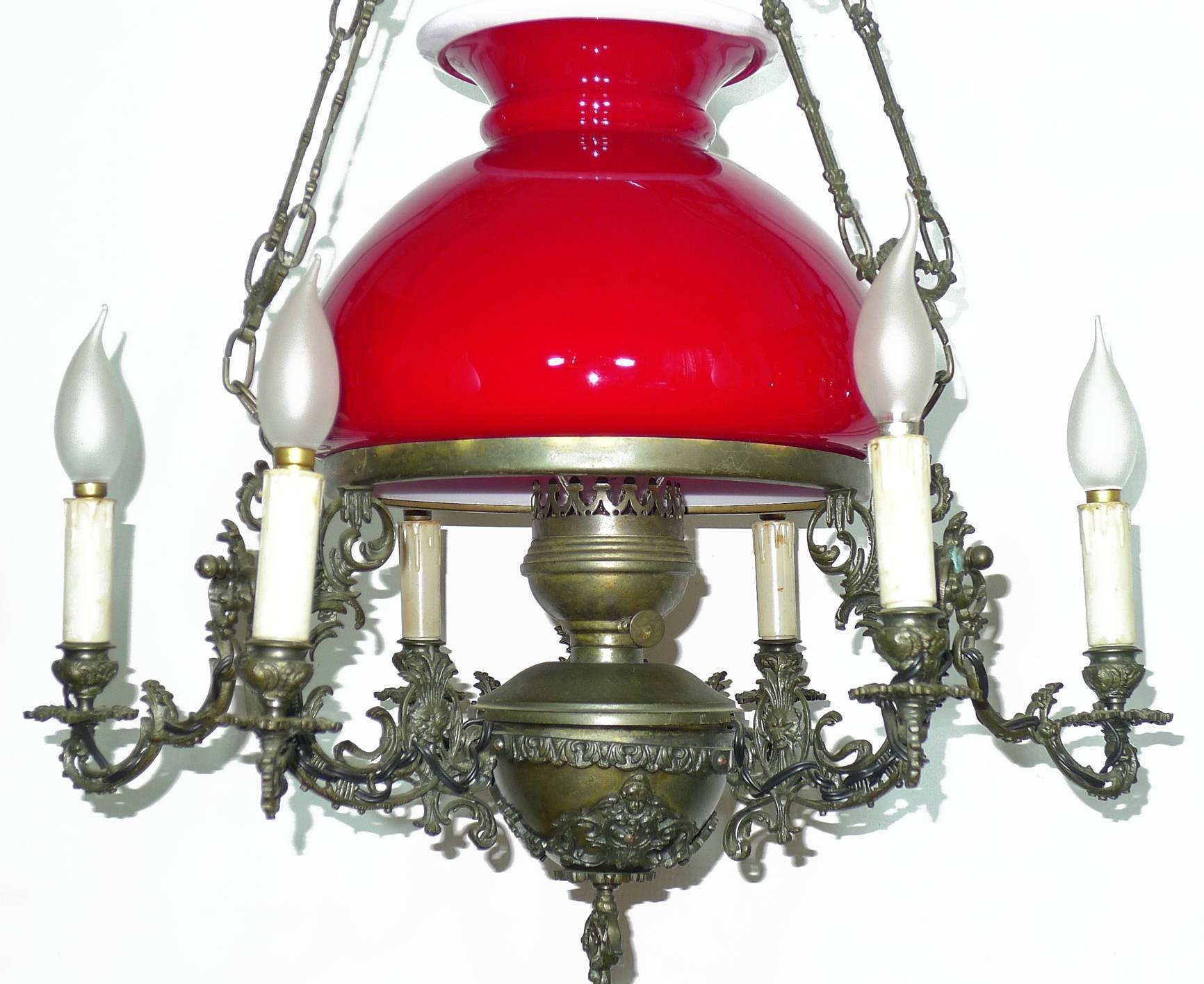 Kronleuchter Antik Frankreich ~ Großer viktorianischer Öllampen kronleuchter aus bronze und