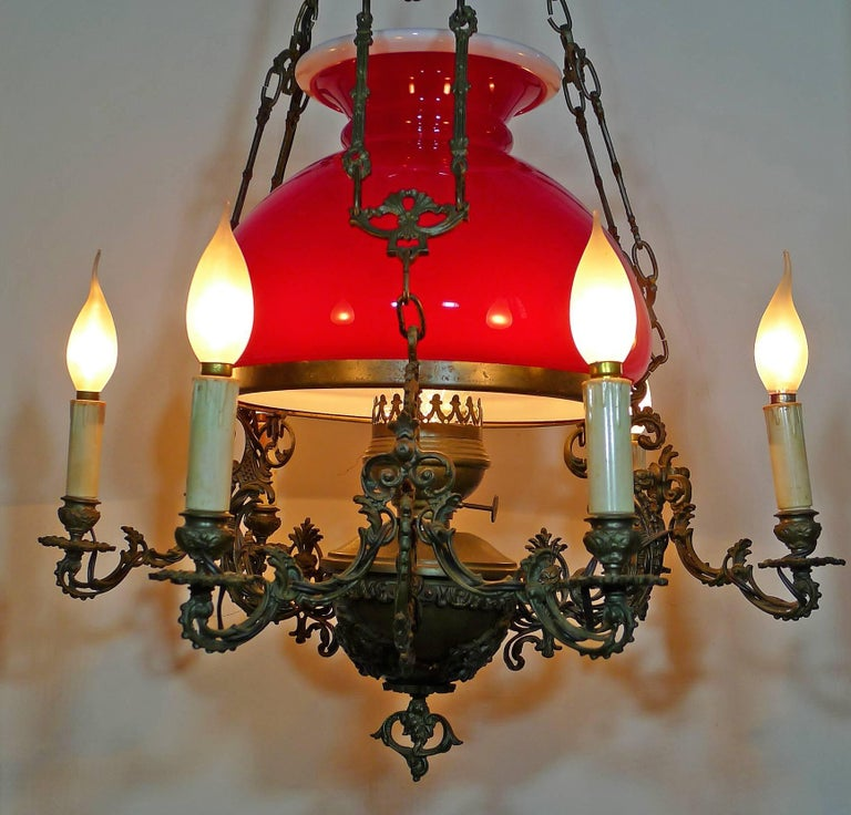 20th Century Large French Victorian Library Hanging Oil Lamp Ruby Red Glass Bronze Chandelier