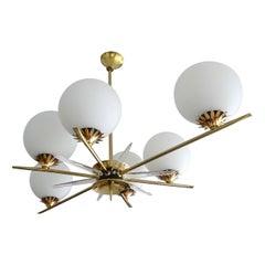 "Large French 29""  Sunburst Brass Glass Pendant Light, Stilnovo Gio Ponti Era"