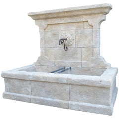 Large French Wall Fountain in Carved Provence Limestone