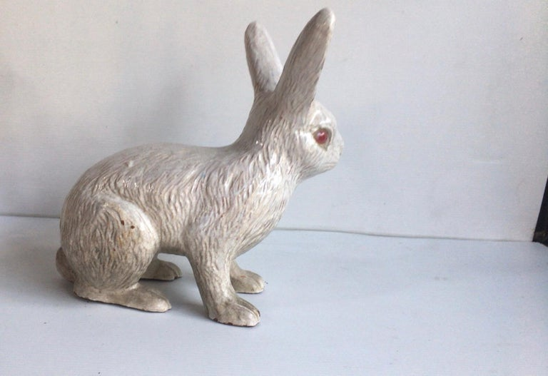 Large French white terracotta rabbit Bavent, circa 1890. (Normandy). Measures: Length / 14 inches on 6 inches, height / 10.5 inches.