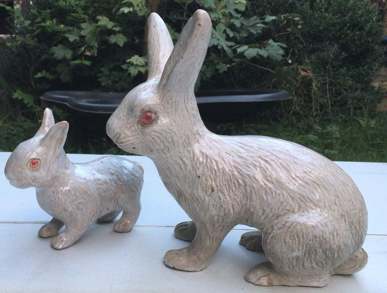 Late 19th Century Large French White Terracotta Majolica Rabbit Bavent, circa 1890 For Sale