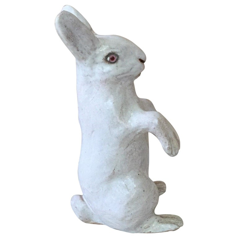 Large French White Terracotta Majolica Rabbit Bavent, circa 1890 For Sale 1