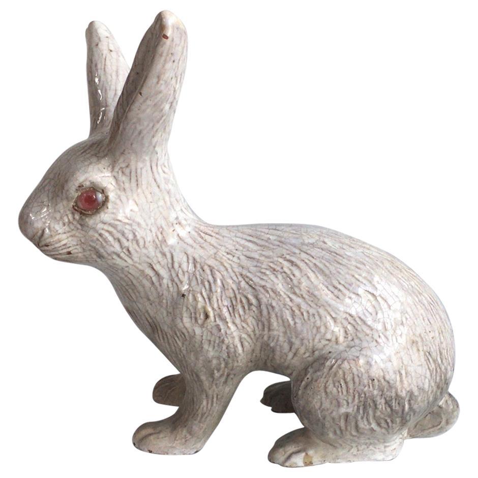 Large French White Terracotta Majolica Rabbit Bavent, circa 1890