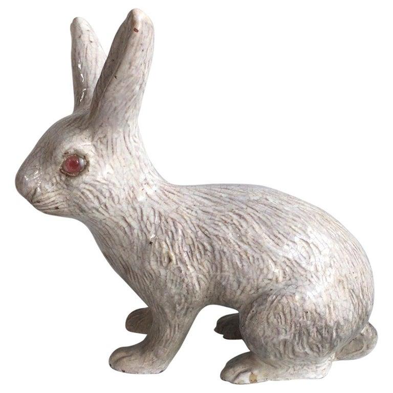 Large French White Terracotta Majolica Rabbit Bavent, circa 1890 For Sale