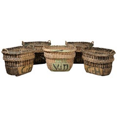 Large French Wicker Basket circa 1900 with Weathered Appearance 'One Left'