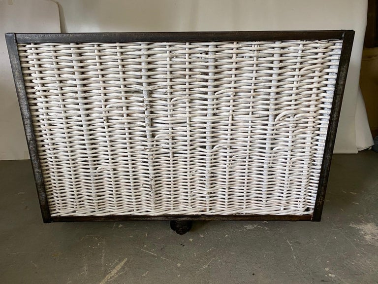 Industrial Large French Wicker Laundry Cart For Sale