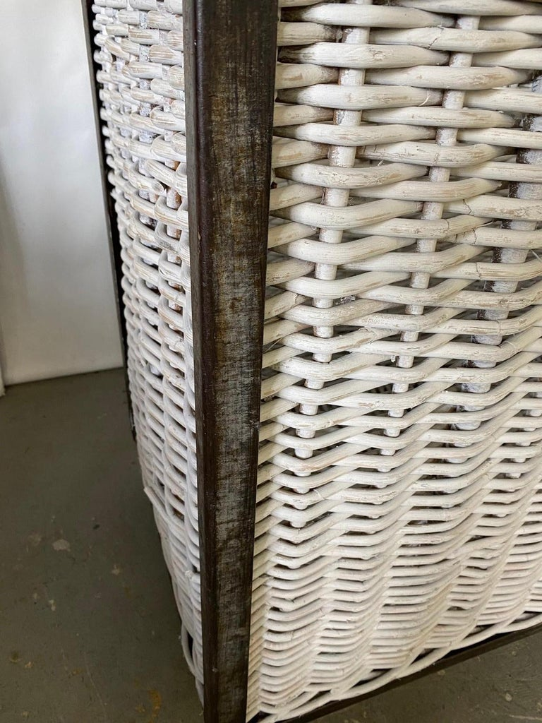 Large French Wicker Laundry Cart For Sale 4