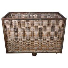 Large French Wicker Laundry Cart