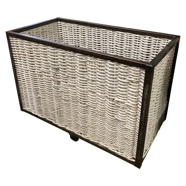 Large French Wicker Laundry Cart For Sale