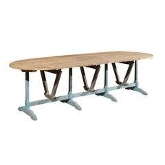 Large French Wine Tasting Table with Oval Tilt-Top and Blue Painted Trestle Base