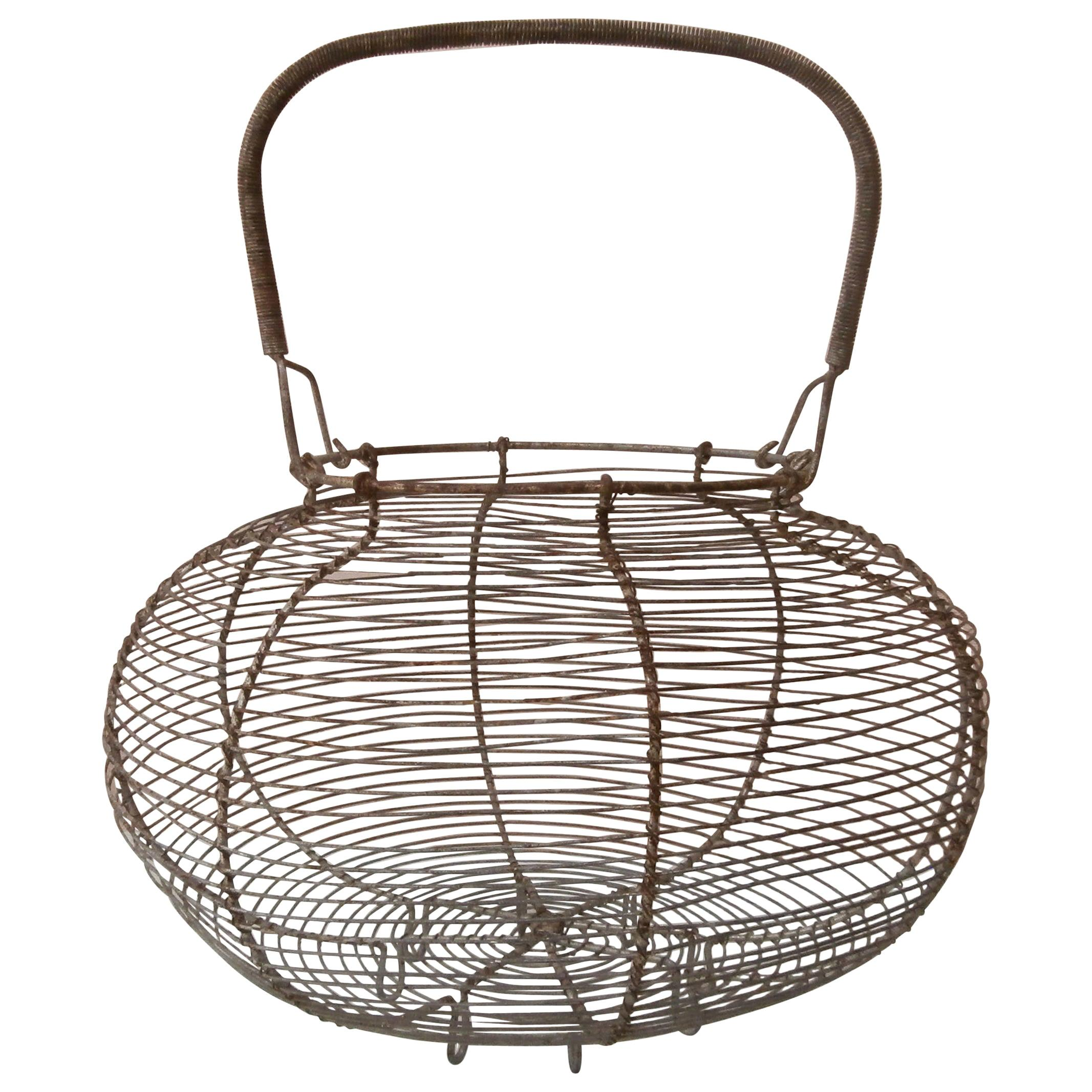 Large French Wire Salad Basket, circa 1940