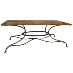 Large French Wrought Iron Garden Table from Arras with Rectangular Top