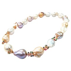 """Large Freshwater Pearl, Diamond and Sapphire """"Fireworks"""" Necklace in 18K Gold"""