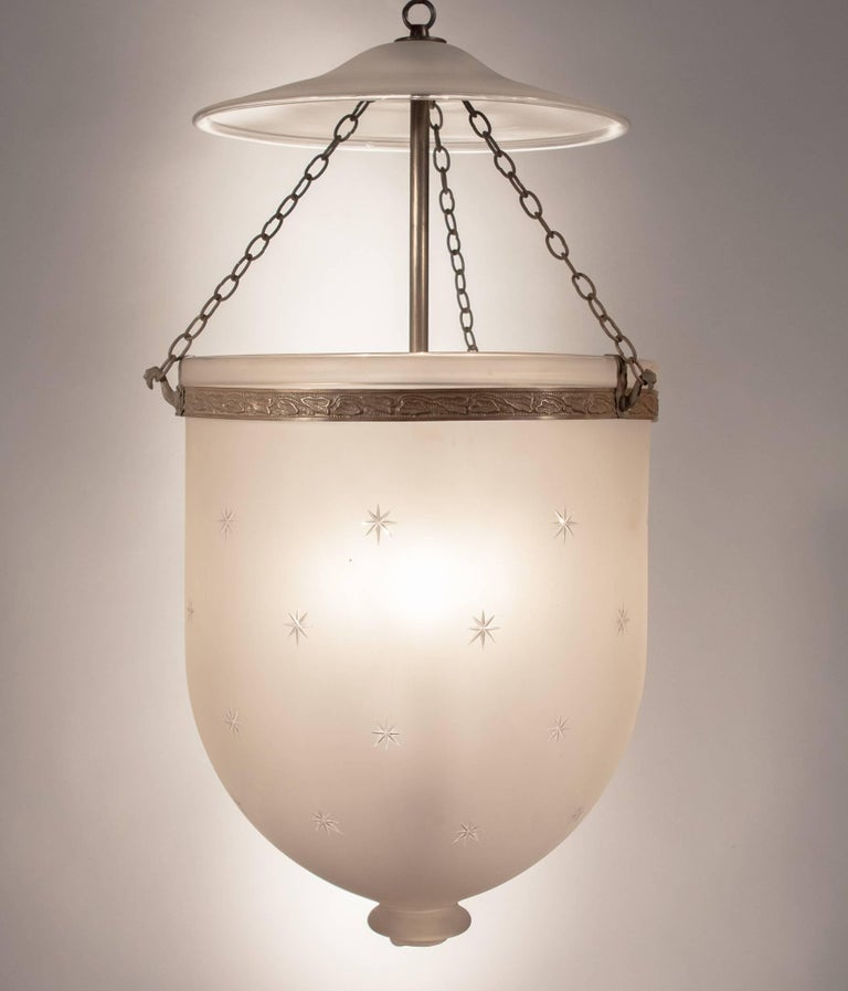 Victorian Large Frosted Bell Jar Lantern with Star Etching For Sale