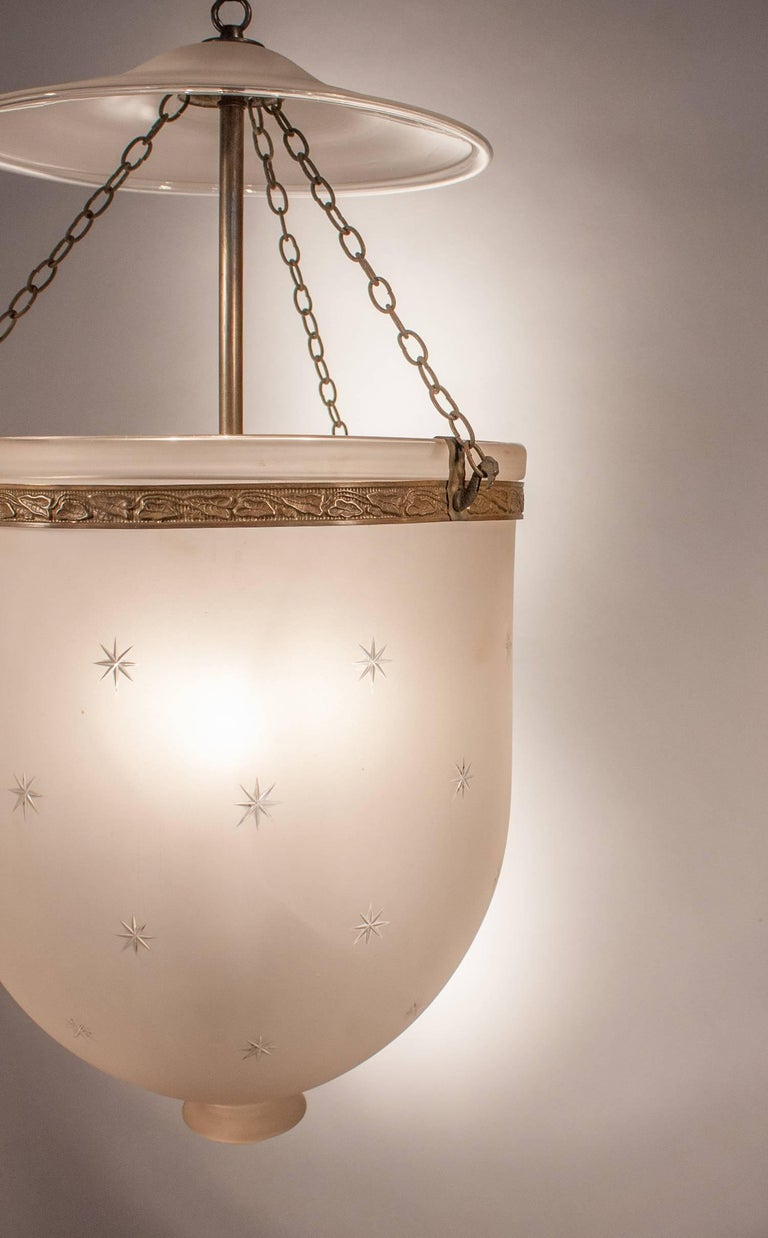 English Large Frosted Bell Jar Lantern with Star Etching For Sale