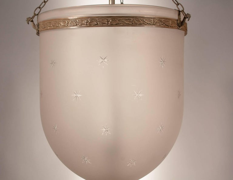 Large Frosted Bell Jar Lantern with Star Etching In Excellent Condition For Sale In Shelburne Falls, MA