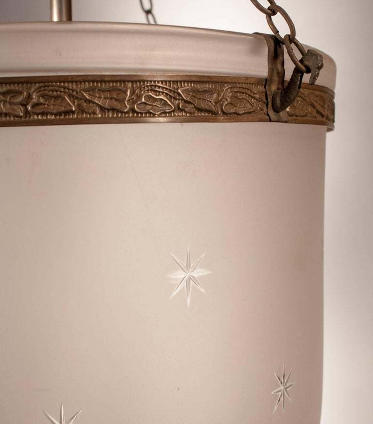 19th Century Large Frosted Bell Jar Lantern with Star Etching For Sale