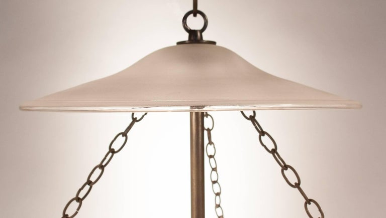 Blown Glass Large Frosted Bell Jar Lantern with Star Etching For Sale