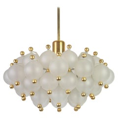 Large Frosted Glass and Brass Chandelier by Kinkeldey, Germany, 1970s