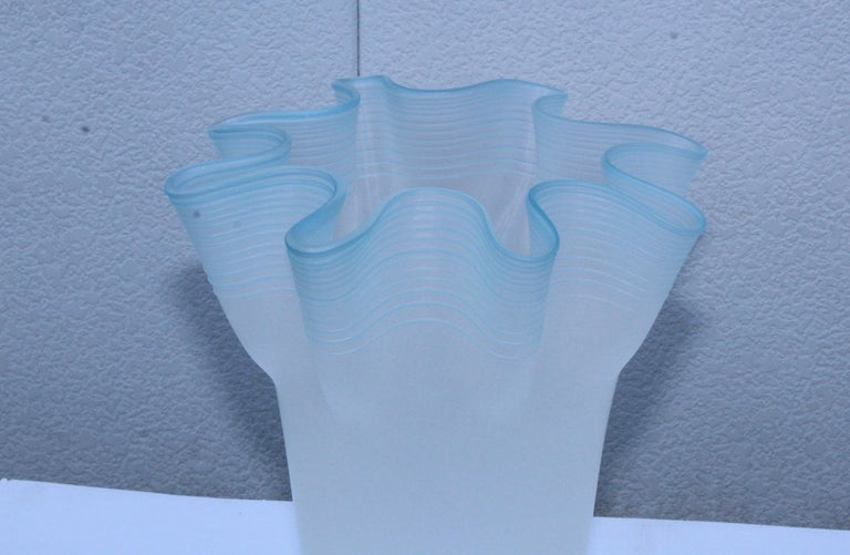 Large Frosted Glass Handkerchief Italian Vases For Sale 6