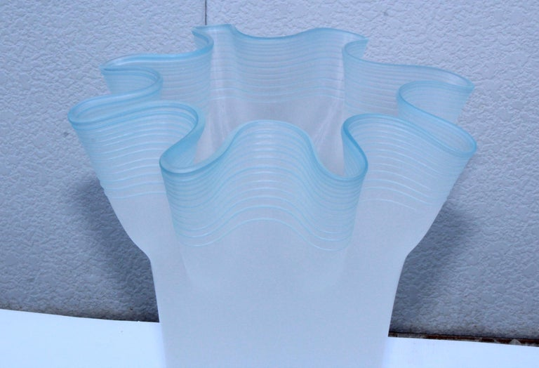 Large Frosted Glass Handkerchief Italian Vases For Sale 7