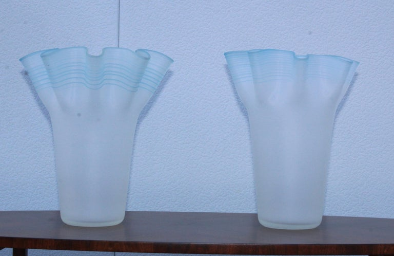 Stunning pair of large hand blown frosted glass handkerchief Italian vases.