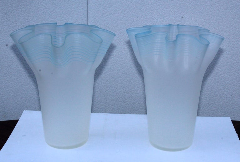 Mid-Century Modern Large Frosted Glass Handkerchief Italian Vases For Sale