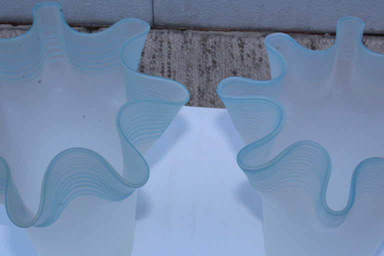 Large Frosted Glass Handkerchief Italian Vases For Sale 2