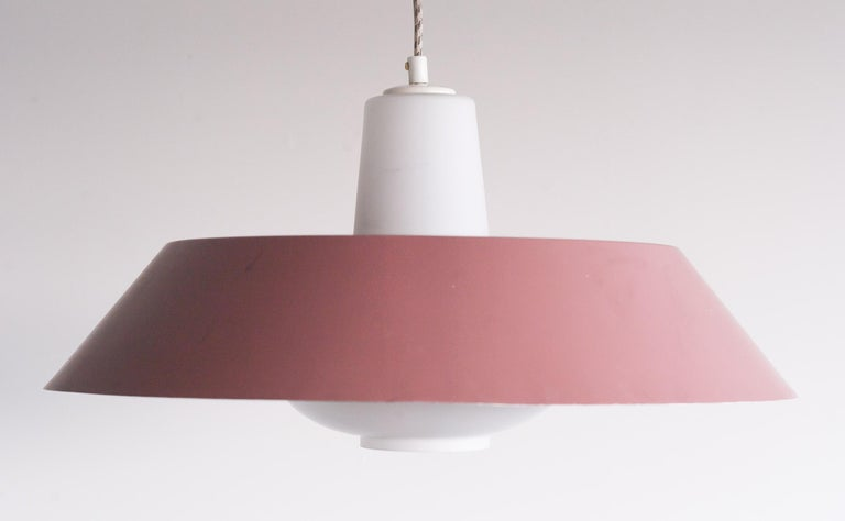 Mid-Century Modern Large Frosted Glass Pendant by Louis Kalff For Sale