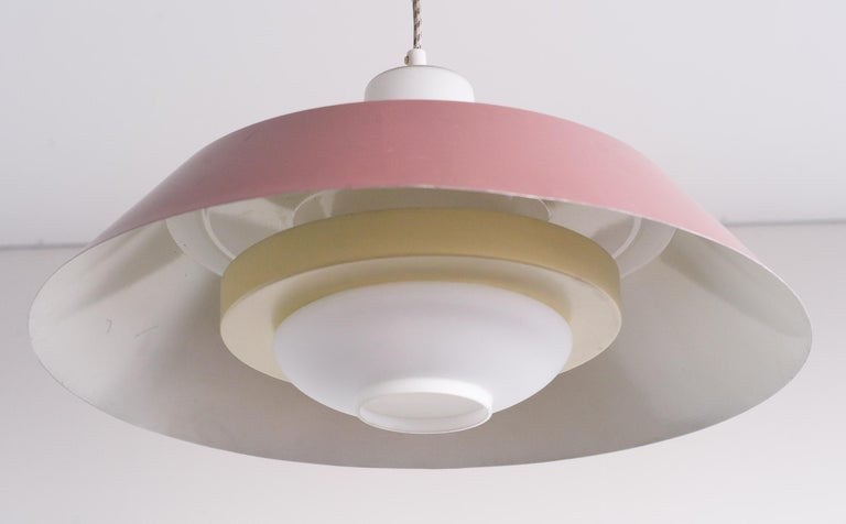 Dutch Large Frosted Glass Pendant by Louis Kalff For Sale