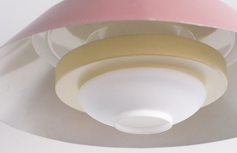 Enameled Large Frosted Glass Pendant by Louis Kalff For Sale