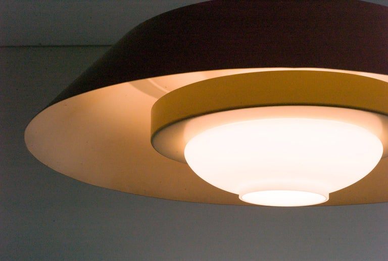 Large Frosted Glass Pendant by Louis Kalff In Good Condition For Sale In Dronten, NL